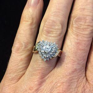 10k - 2 - Toned Heart - Diamond cluster ring